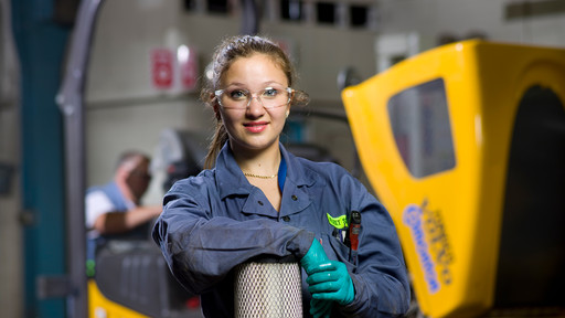 Azra-Ann Anderson-Milot, a former EIPS RAP student who now works as an apprentice heavy-duty mechanic